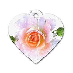 Pink Rose Flower, Floral Watercolor Aquarel Painting Art Dog Tag Heart (one Side)