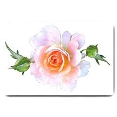 Pink Rose Flower, Floral Watercolor Aquarel Painting Art Large Doormat