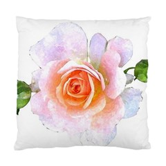 Pink Rose Flower, Floral Watercolor Aquarel Painting Art Standard Cushion Case (one Side)