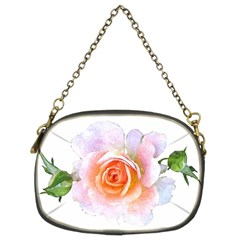 Pink Rose Flower, Floral Watercolor Aquarel Painting Art Chain Purses (two Sides)
