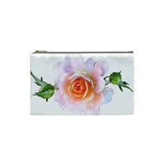 Pink Rose Flower, Floral Watercolor Aquarel Painting Art Cosmetic Bag (small)