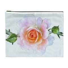 Pink Rose Flower, Floral Watercolor Aquarel Painting Art Cosmetic Bag (xl)