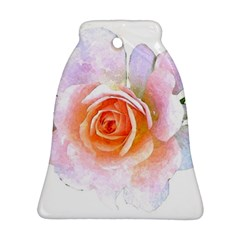 Pink Rose Flower, Floral Watercolor Aquarel Painting Art Bell Ornament (two Sides)
