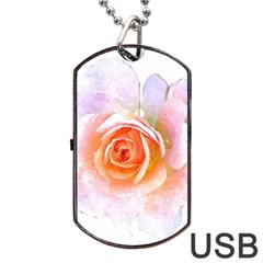Pink Rose Flower, Floral Watercolor Aquarel Painting Art Dog Tag Usb Flash (two Sides)