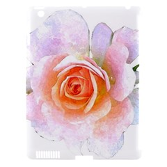 Pink Rose Flower, Floral Watercolor Aquarel Painting Art Apple Ipad 3/4 Hardshell Case (compatible With Smart Cover)