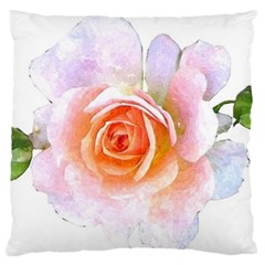 Pink Rose Flower, Floral Watercolor Aquarel Painting Art Large Cushion Case (two Sides)