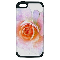 Pink Rose Flower, Floral Watercolor Aquarel Painting Art Apple Iphone 5 Hardshell Case (pc+silicone)