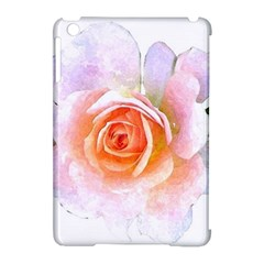 Pink Rose Flower, Floral Watercolor Aquarel Painting Art Apple Ipad Mini Hardshell Case (compatible With Smart Cover)