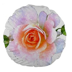 Pink Rose Flower, Floral Watercolor Aquarel Painting Art Large 18  Premium Round Cushions