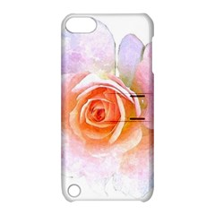 Pink Rose Flower, Floral Watercolor Aquarel Painting Art Apple Ipod Touch 5 Hardshell Case With Stand