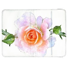 Pink Rose Flower, Floral Watercolor Aquarel Painting Art Samsung Galaxy Tab 7  P1000 Flip Case