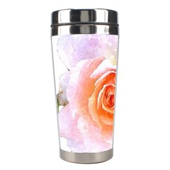 Pink Rose Flower, Floral Watercolor Aquarel Painting Art Stainless Steel Travel Tumblers