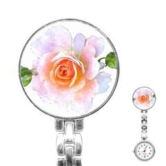 Pink Rose Flower, Floral Watercolor Aquarel Painting Art Stainless Steel Nurses Watch