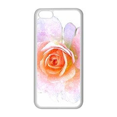Pink Rose Flower, Floral Watercolor Aquarel Painting Art Apple Iphone 5c Seamless Case (white)