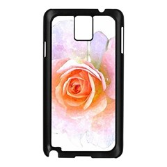 Pink Rose Flower, Floral Watercolor Aquarel Painting Art Samsung Galaxy Note 3 N9005 Case (black)