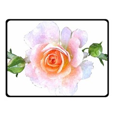 Pink Rose Flower, Floral Watercolor Aquarel Painting Art Double Sided Fleece Blanket (small)