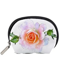 Pink Rose Flower, Floral Watercolor Aquarel Painting Art Accessory Pouches (small)