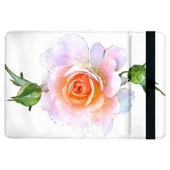 Pink Rose Flower, Floral Watercolor Aquarel Painting Art Ipad Air Flip
