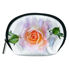Pink Rose Flower, Floral Watercolor Aquarel Painting Art Accessory Pouches (medium)