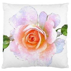 Pink Rose Flower, Floral Watercolor Aquarel Painting Art Large Flano Cushion Case (two Sides)