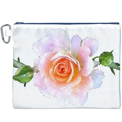 Pink Rose Flower, Floral Watercolor Aquarel Painting Art Canvas Cosmetic Bag (xxxl)