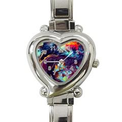 Abstract Acryl Art Heart Italian Charm Watch