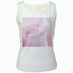 Rose Pink Flower, Floral Aquarel   Watercolor Painting Art Women s White Tank Top