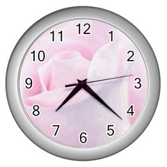 Rose Pink Flower, Floral Aquarel   Watercolor Painting Art Wall Clocks (silver)