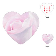 Rose Pink Flower, Floral Aquarel   Watercolor Painting Art Playing Cards (heart)