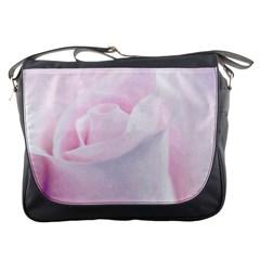 Rose Pink Flower, Floral Aquarel   Watercolor Painting Art Messenger Bags