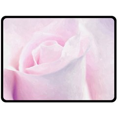 Rose Pink Flower, Floral Aquarel   Watercolor Painting Art Double Sided Fleece Blanket (large)
