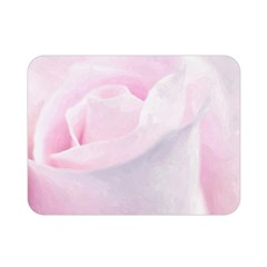 Rose Pink Flower, Floral Aquarel   Watercolor Painting Art Double Sided Flano Blanket (mini)