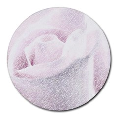 Rose Pink Flower  Floral Pencil Drawing Art Round Mousepads