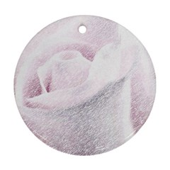 Rose Pink Flower  Floral Pencil Drawing Art Ornament (round)