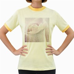 Rose Pink Flower  Floral Pencil Drawing Art Women s Fitted Ringer T Shirts