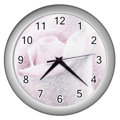 Rose Pink Flower  Floral Pencil Drawing Art Wall Clocks (silver)