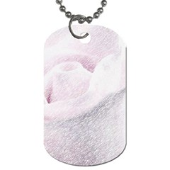 Rose Pink Flower  Floral Pencil Drawing Art Dog Tag (one Side)