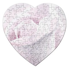 Rose Pink Flower  Floral Pencil Drawing Art Jigsaw Puzzle (heart)