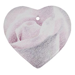 Rose Pink Flower  Floral Pencil Drawing Art Heart Ornament (two Sides)