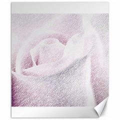 Rose Pink Flower  Floral Pencil Drawing Art Canvas 8  X 10