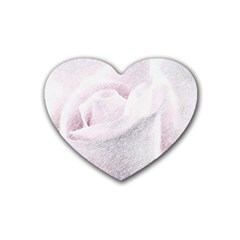 Rose Pink Flower  Floral Pencil Drawing Art Rubber Coaster (heart)