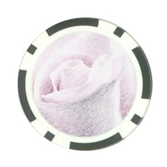 Rose Pink Flower  Floral Pencil Drawing Art Poker Chip Card Guard