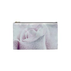 Rose Pink Flower  Floral Pencil Drawing Art Cosmetic Bag (small)