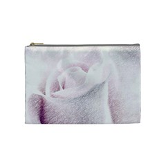 Rose Pink Flower  Floral Pencil Drawing Art Cosmetic Bag (medium)