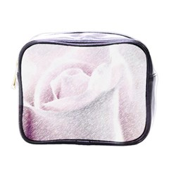 Rose Pink Flower  Floral Pencil Drawing Art Mini Toiletries Bags