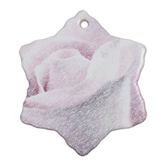 Rose Pink Flower  Floral Pencil Drawing Art Ornament (snowflake)