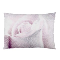 Rose Pink Flower  Floral Pencil Drawing Art Pillow Case (two Sides)