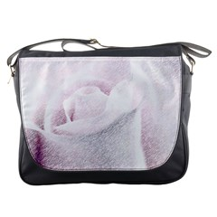 Rose Pink Flower  Floral Pencil Drawing Art Messenger Bags