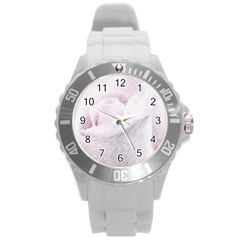 Rose Pink Flower  Floral Pencil Drawing Art Round Plastic Sport Watch (l)
