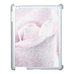 Rose Pink Flower  Floral Pencil Drawing Art Apple Ipad 3/4 Case (white)